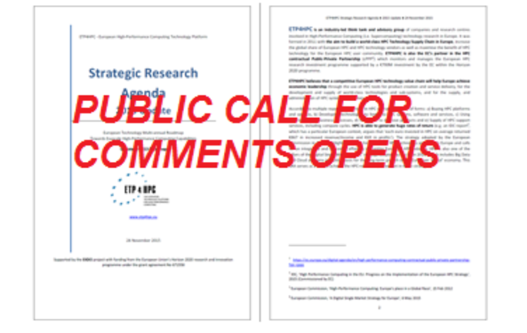 Public Call for Comments on ETP4HPC Strategic Research Agenda